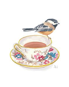 Original Bird and Teacup Watercolour Painting - Chickadee Bird illustration, Kitchen Art, 8x10