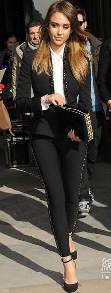 Jessica Alba street style - great black suit fall fashion