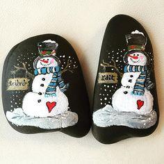 #snowman #stonepainting #paintedstones #rockart #winter #winterwonderland
