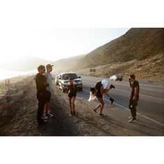 Sirius, Remus, Marlene, Mary, Lily and James on a road trip -1979