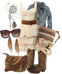 denim jacket, accessories, dress, boots!