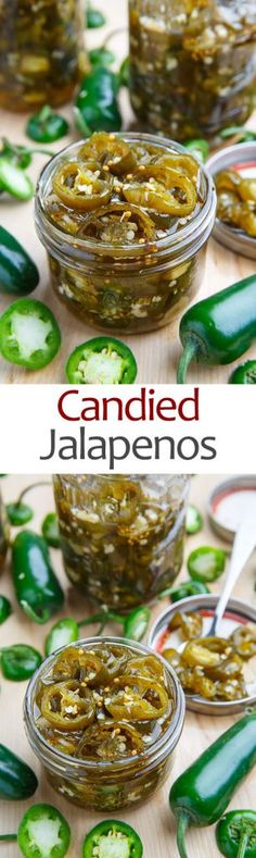Candied Jalapenos - Pickled And Sweet, Use Them As A Garnish Or Eat Them Straight Out Of The Jar Closet Cooking Antipasto, Chile Picante, Fingers Food, Candied Jalapenos, Salsa Dulce, Jalapeno Recipes, Jelly Recipes, Salmon Recipes, Fermented Foods