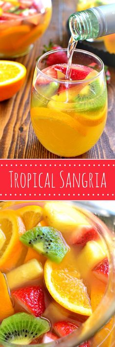 This Tropical White Wine Sangria combines sweet white wine with all things tropi. This Tropical White Wine Sangria combines sweet white wine with all things tropical! Perfect for summer - it& like a mini vacation in a glass! Summer Cocktails, Cocktail Drinks, Cocktail Recipes, Summer Sangria, Tropical Sangria Recipe, Sangria Fruit, Sangria Bar, Rum Punch Recipes, Sangria Recipe No Brandy