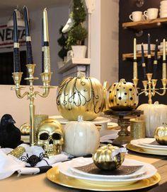 No-Carve Pumpkin Inspo   Golden Embellished Pumpkins