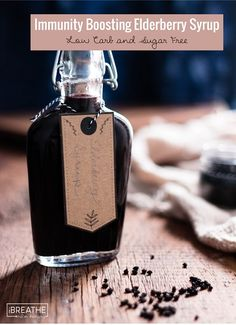 This low carb elderberry syrup boosts your immune system and is proven to reduce the duration of cold and flu viruses!