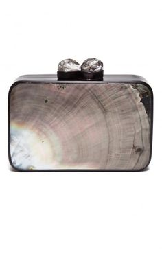 Celestina Brown Maricel Soriano Box Clutch _ Petite clutch in highly polished Black Lip Shell. Silver hinged frame with clear crystal clasp. Owning to the uniqueness of each shell, no two clutches are the same. Unlined. Comes with a dust bag.