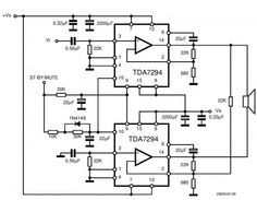 TDA7294 is a monolithic integrated circuit in Multiwatt15 package, with high output power (up to 100W) intended for use as audio class AB amplifier in Hi-Fi field applications. Source: http://electroschematics.com/7876/tda7294-audio-amplifier-circuits/