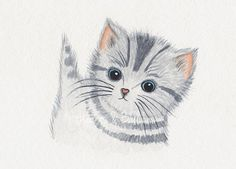 Childrens+art+Cat+Kitten+watercolour+painting+by+heartsandballoons,+$9.00