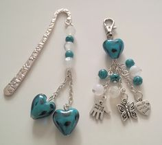Blue heart keyring and bookmark set Heart Keyring, Jewelry Making, Jewellery, How To Make, Blue, Jewels, Jewelry Shop, Jewerly, Jewellery Making