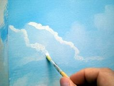 Painting lesson for Beginner artists: Landscape with acrylics, for beginners - Step 5 : The Clouds