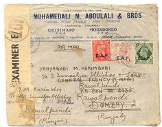 1944 SOMALIA TO INDIA CENSOR COVER WITH UK STAMPS O/P  EAST AFRICAN FORCES  EAF