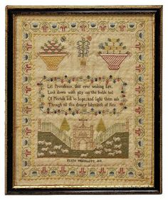 """Eliza Tremlett 1818 needlework sampler with verse, landscape with sheep, fence and building, floral baskets and border, 17"""" high x 14"""""""