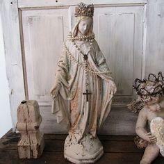 Virgin Mary statue w/ rhinestone crown white French farmhouse distressed Madonna religious shabby cottage pearls decor anita spero design