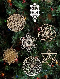 Sacred Geometry Holiday Ornaments - Set of Seven - Laser Cut Wood