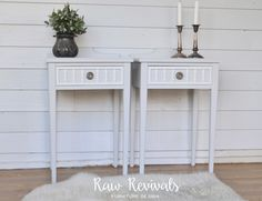 Custom grey and white bedside tables.   www.rawrevivals.com.au
