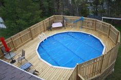 above ground pool privacy decks | Magnetic Deck Plans Around Above Ground Pools with Wooden Privacy ...