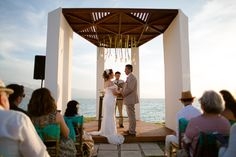 A stunning gazebo wedding by the sea at Sunscape Puerto Vallarta! Destination Wedding Inspiration, Destination Weddings, All Inclusive Family Resorts, Garden Gazebo, Puerto Vallarta, Resort Spa, Brown And Grey, Evergreen, The Neighbourhood