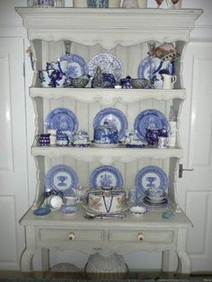 This is our blue and white china dresser in our cottage kitchen
