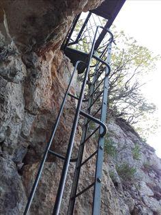 Site dédié à la randonnée autonome et responsable. Une voie avec ses échelles aménagés et ses gardes corps #sentier #randonnée #chemin #foret #GR #PR #marche #nature Utility Pole, Ladder, Nature, Pathways, Paths, Walking, Stairway, Naturaleza, Nature Illustration