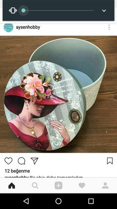 Frame Crafts, Crafts To Do, Cigar Box Crafts, Decoupage Plates, Art Impressions Stamps, Painted Trays, Country Paintings, Hat Boxes, Pretty Box