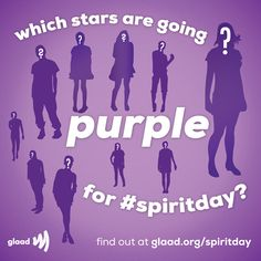Which of your favorite stars are going purple to support LGBT youth on #SpiritDay 10/17? Find out and change your profile pics purple at http://glaad.org/spiritday