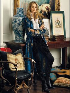 Sanne Vloet in Ralph Lauren Fall Winter 2016 Ad Campaign Source by gudkoch Dress couture Lila Outfits, Mode Outfits, Fashion Outfits, Stylish Outfits, Kimono Fashion, Look Fashion, High Fashion, Womens Fashion, Fashion Design