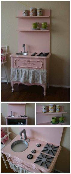 Way cute DIY kids kitchen!like the top shelves. Great idea of cake pan as the sink. Best Play Kitchen, Diy Kids Kitchen, Kitchen Sets, Play Kitchens, Kitchen Design, Diy Kids Furniture, Furniture Styles, Repurposed Furniture, Home Furniture