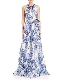 Carmen Marc Valvo Beaded-Neck Printed Silk Gown