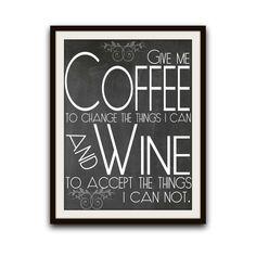 Decoración de la pared de cocina café arte por GeekChicPrints #coffee #wine