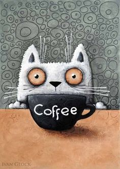 Coffee cat, cat Drawing, Cute cat, coffeine cat Debbwats Cat coffee ♥Fine Art Print direct from Berlin artist Ivan Glock ♥print of original acrylic painting ♥All the prints here were made by the artist himself, personally ♥Printed with arc I Love Coffee, Coffee Art, Arte Sketchbook, Coffee Drawing, Crazy Cats, Big Cats, Fine Art Prints, Original Paintings, Artsy