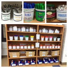 Art room storage hacks.   Labeled shelves for each class's work.
