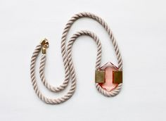 Rope, glass and brass necklace