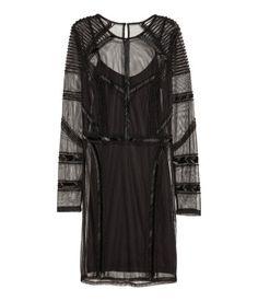 Perlenbesetztes Kleid | Schwarz | Damen | H&M DE