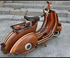 A Vespa #scooter made of #wood!  (Vespa 'Daniela' by Famed Portuguese Carpenter Carlos Alberto) #Portugal