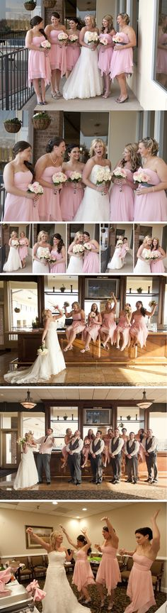 Some of my favorites from Kait & Dan's April Wedding! Hilarious and fun bridal party poses on the bar - this group was so awesome! pink and grey wedding theme  marlaynaphotography.com