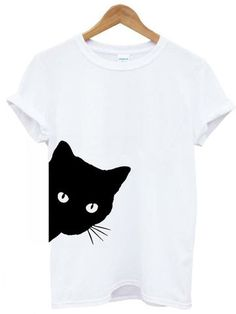 Casual Printed Cat Short Sleeve T-shirt