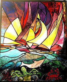 Karen Dawson Art--Glass Art, stained glass Gallery  Sail Boats