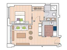Bien distribuido. Los 60 m2 de este apartamento se organizan así: un pasillo distribuidor que da paso a la cocina y al salón-comedor, un dormitorio, un cuarto de baño con ducha de obra y una zona de armarios.