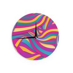 "Danny Ivan ""Swirls Everywhere"" Pink Teal Wall Clock"