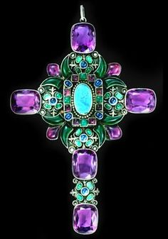 SIBYL DUNLOP 1889-1968. An Opulent Double Sided Pectoral Cross. Silver Opal Chalcedony Amethyst Sapphire. British, c.1930. The reliquary reverse is decorated in champleve enamel by Henri de Koningh. With fitted case marked 'Sibyl Dunlop, Art Jewellers and Silversmiths, 69 Church St, Kensington, London, W'. #Dunlop #ArtsAndCrafts #cross