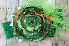 St. Patricks' Day, St. Patty's, Green and gold, Toddler Headband, Girls Headband, Singed Satin Flower, OTT, Photography Prop on Etsy, $18.00