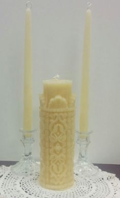 Beeswax Unity Candle Set By Mcandles On Etsy Hanrolled Pillar Candles Pinterest Wedding Green Weddings And Things