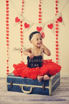 Valentines, chalk board, antique suitcase, heart banner, Baby Bare Photography
