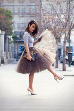 Mokka zeer pluizig Full gelaagde Petticoat Tulle rokje Tutu