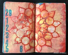Mixed Media Background page in daily art journal by Maria McGuire using stencils from StencilGirl.