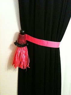 duct tape curtain tie back and tassle by Beth Watson
