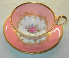 AYNSLEY PINK ROSE CENTER GOLD DORIS TEA CUP AND SAUCER
