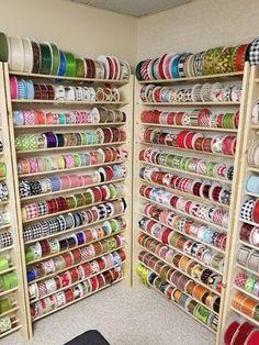 Waterman's Loft- Craft Supplies & Home Decor' Ribbon Organization, Ribbon Storage, Fabric Storage, Craft Organization, Organizing, Wreath Supplies, Craft Supplies, Ribbon Display, Ribbon Holders