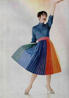 1950s rainbow pleated dress