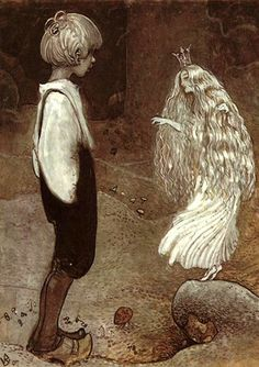 "ronot: Illustration from Alfred Smedberg's The Seven Wishes among Gnomes and Trolls by John Bauer. ""At that moment the frog princess became a beautiful fairy girl."" ~ The caption and more John Bauer illustrations can be found at Art Passions. John Bauer, Art And Illustration, Book Illustrations, Art Beauté, Fairytale Art, Beautiful Fairies, Real Fairies, Pixies, Mythical Creatures"